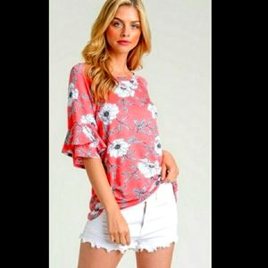 First Love coral floral top with ruffled sleeves